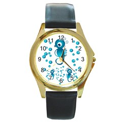 Seahorsesb Round Gold Metal Watch by vanessagf
