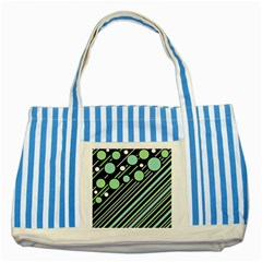 Green Transformaton Striped Blue Tote Bag by Valentinaart