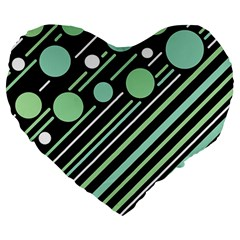 Green Transformaton Large 19  Premium Flano Heart Shape Cushions by Valentinaart