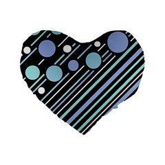 Blue Transformation Standard 16  Premium Flano Heart Shape Cushions by Valentinaart
