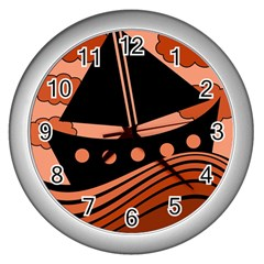 Boat   Red Wall Clocks (silver)  by Valentinaart