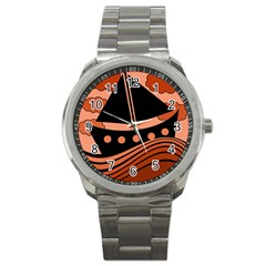Boat   Red Sport Metal Watch by Valentinaart