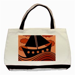 Boat   Red Basic Tote Bag by Valentinaart
