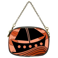 Boat   Red Chain Purses (two Sides)  by Valentinaart