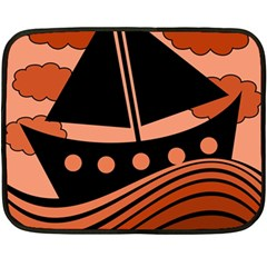 Boat   Red Fleece Blanket (mini) by Valentinaart