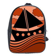 Boat   Red School Bags(large)  by Valentinaart