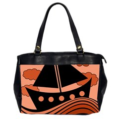 Boat   Red Office Handbags (2 Sides)  by Valentinaart