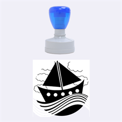 Boat   Red Rubber Round Stamps (medium) by Valentinaart