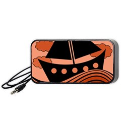 Boat   Red Portable Speaker (black)  by Valentinaart