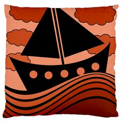 Boat   Red Large Cushion Case (one Side) by Valentinaart