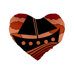 Boat   Red Standard 16  Premium Heart Shape Cushions by Valentinaart