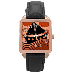 Boat   Red Rose Gold Leather Watch  by Valentinaart