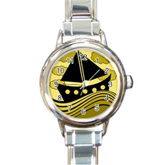 Boat   Yellow Round Italian Charm Watch by Valentinaart