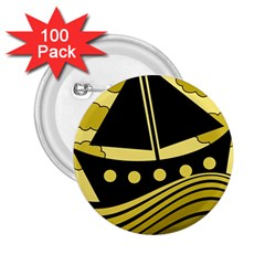 Boat   Yellow 2 25  Buttons (100 Pack)  by Valentinaart