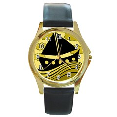 Boat   Yellow Round Gold Metal Watch by Valentinaart