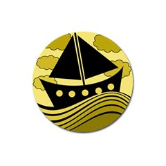 Boat   Yellow Magnet 3  (round) by Valentinaart