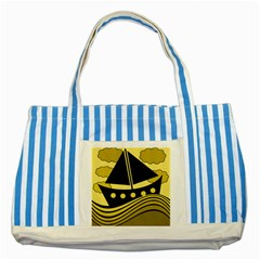 Boat   Yellow Striped Blue Tote Bag by Valentinaart