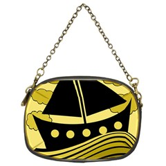 Boat   Yellow Chain Purses (two Sides)  by Valentinaart