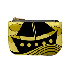 Boat   Yellow Mini Coin Purses by Valentinaart
