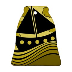 Boat   Yellow Ornament (bell)  by Valentinaart