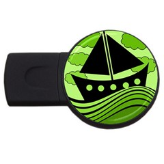 Boat   Green Usb Flash Drive Round (2 Gb)