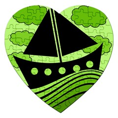 Boat   Green Jigsaw Puzzle (heart) by Valentinaart