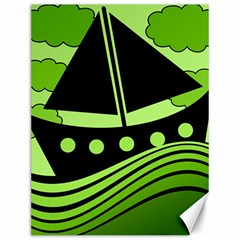 Boat   Green Canvas 12  X 16   by Valentinaart
