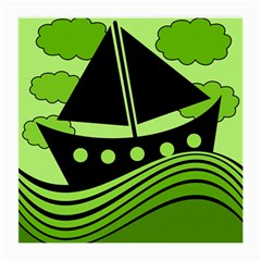 Boat   Green Medium Glasses Cloth (2 Side) by Valentinaart