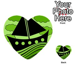 Boat   Green Multi Purpose Cards (heart)  by Valentinaart