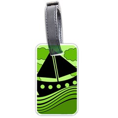 Boat   Green Luggage Tags (two Sides) by Valentinaart