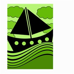 Boat   Green Large Garden Flag (two Sides) by Valentinaart