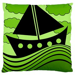 Boat   Green Large Cushion Case (two Sides) by Valentinaart