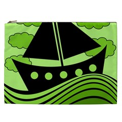 Boat   Green Cosmetic Bag (xxl)  by Valentinaart
