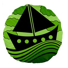 Boat   Green Large 18  Premium Round Cushions by Valentinaart