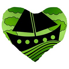 Boat - Green Large 19  Premium Heart Shape Cushions by Valentinaart