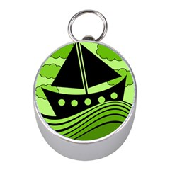 Boat   Green Mini Silver Compasses by Valentinaart