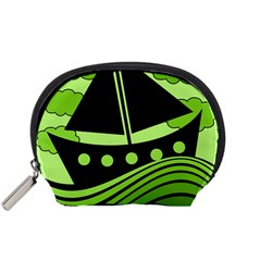 Boat   Green Accessory Pouches (small)  by Valentinaart