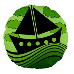 Boat   Green Large 18  Premium Flano Round Cushions by Valentinaart