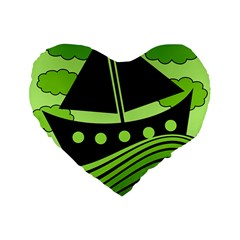 Boat   Green Standard 16  Premium Flano Heart Shape Cushions by Valentinaart