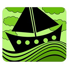 Boat   Green Double Sided Flano Blanket (small)  by Valentinaart