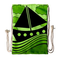 Boat   Green Drawstring Bag (large) by Valentinaart