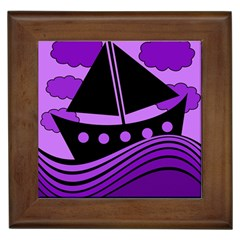 Boat   Purple Framed Tiles by Valentinaart