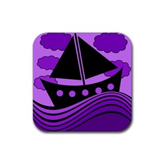 Boat   Purple Rubber Square Coaster (4 Pack)  by Valentinaart