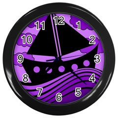 Boat   Purple Wall Clocks (black) by Valentinaart
