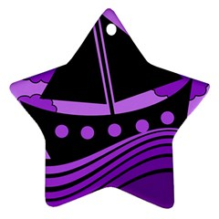 Boat   Purple Star Ornament (two Sides)  by Valentinaart