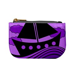 Boat   Purple Mini Coin Purses by Valentinaart