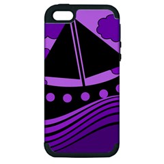 Boat   Purple Apple Iphone 5 Hardshell Case (pc+silicone) by Valentinaart