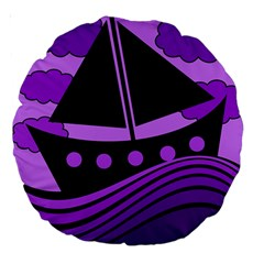 Boat   Purple Large 18  Premium Round Cushions by Valentinaart