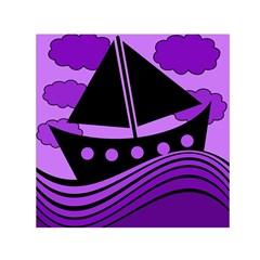 Boat   Purple Small Satin Scarf (square) by Valentinaart