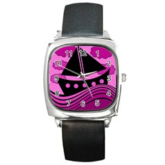 Boat   Magenta Square Metal Watch by Valentinaart